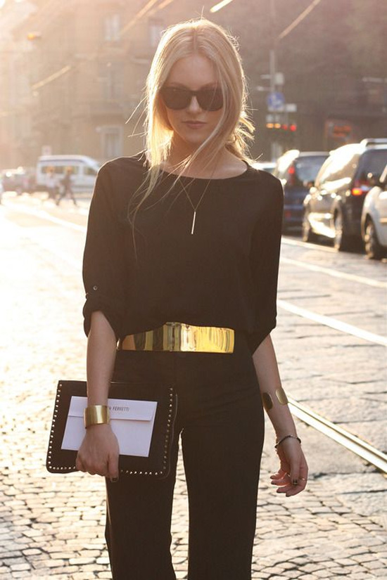 black outfit gold accessories