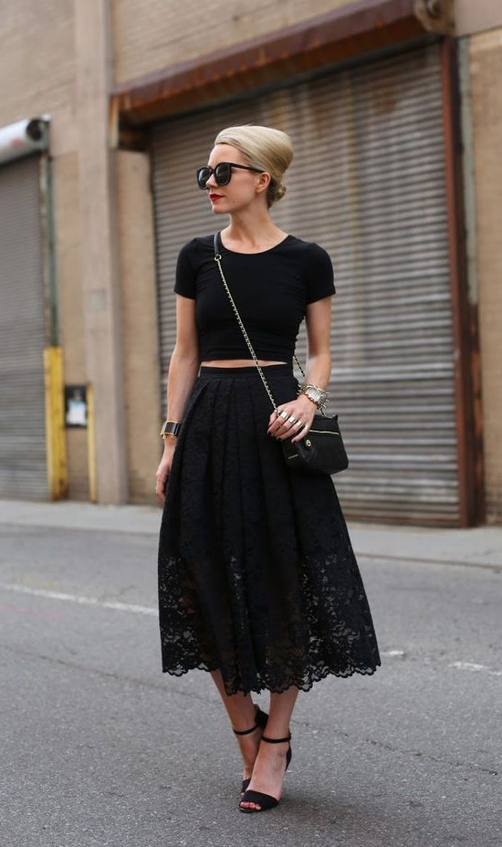 black lace skirt crop top