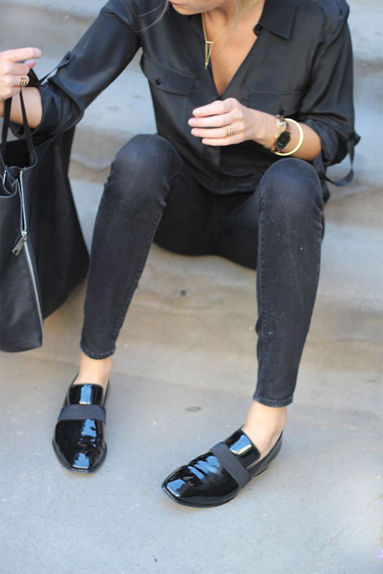 black jeans patent shoes silk skirt