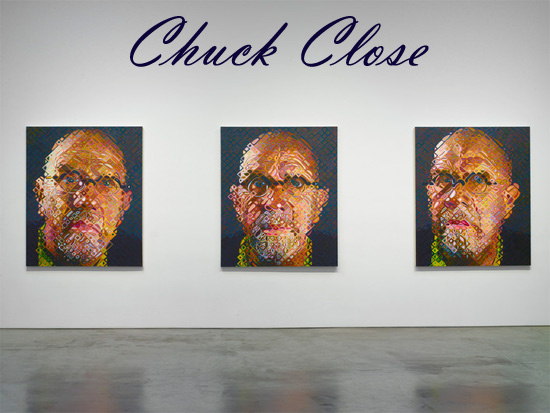 Chuck-Close-trio-of-self-portraits-pace-gallery-2009